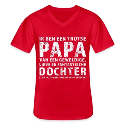 Trotse Papa - Klassiek mannen T-shirt met V-hals
