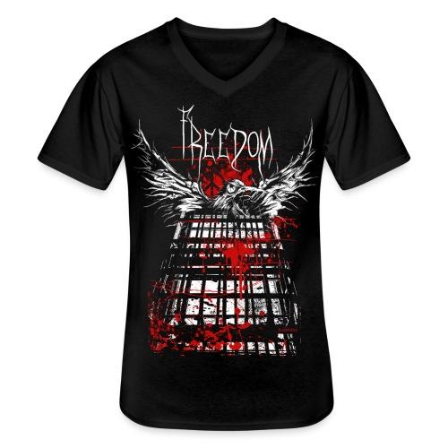 RAVEN | FREEDOM - Klassisches Männer-T-Shirt mit V-Ausschnitt