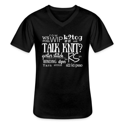 Talk Knit ?, white - Men's V-Neck T-Shirt