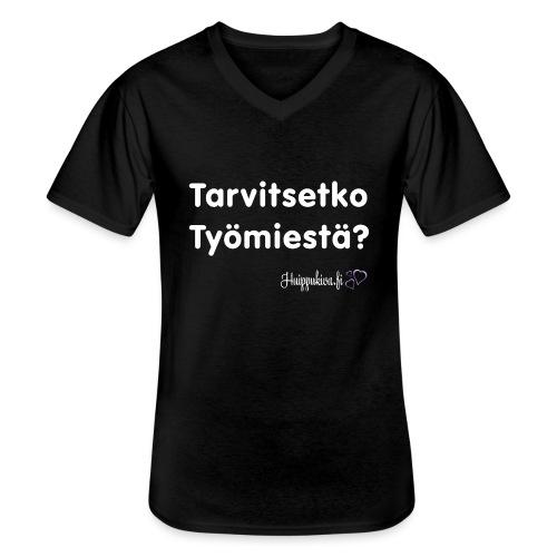 Tarvitsetko Työmiestä? - Klassinen miesten t-paita v-pääntiellä