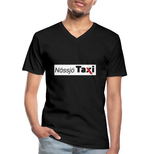 Nässjö taxi tryck - Klassisk T-shirt med V-ringning herr