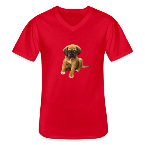 Süsses Haustier Welpe - Klassisches Männer-T-Shirt mit V-Ausschnitt