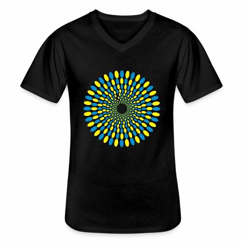 Optische Taeuschung - Klassisches Männer-T-Shirt mit V-Ausschnitt