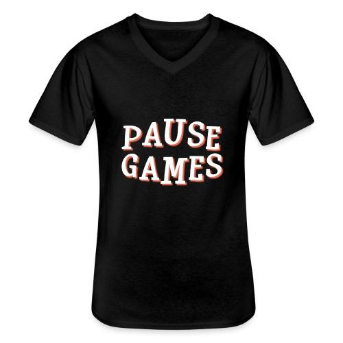 Pause Games Text - Men's V-Neck T-Shirt