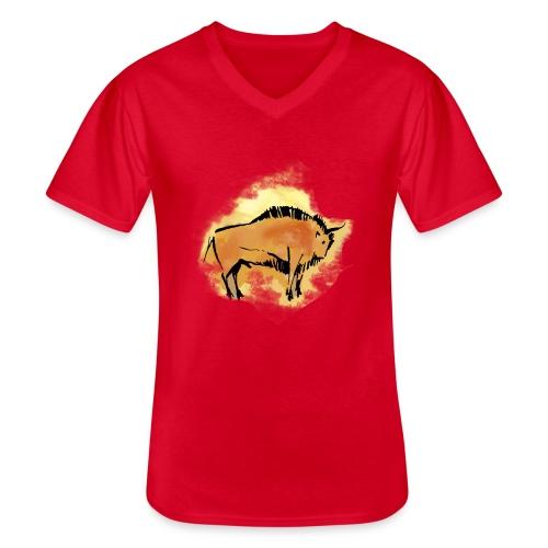 Wisent - Klassisches Männer-T-Shirt mit V-Ausschnitt