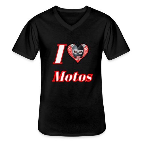 ilovemotos - Camiseta clásica con cuello de pico hombre