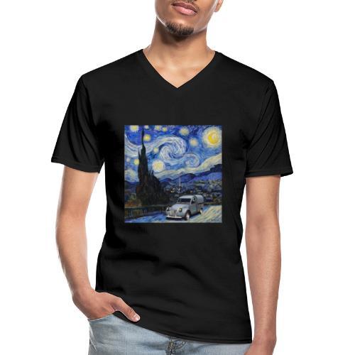 Notte stellata Van Gogh Citroen 2cv furgonette - Maglietta da uomo classica con scollo a V