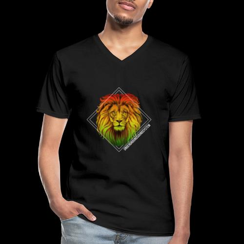 LION HEAD - UNDERGROUNDSOUNDSYSTEM - Klassisches Männer-T-Shirt mit V-Ausschnitt