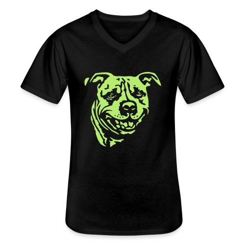 Staffbull negativ - Klassisches Männer-T-Shirt mit V-Ausschnitt