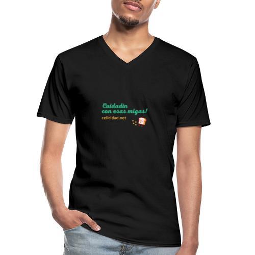 Cuidadín con esas migas -verde - Camiseta clásica con cuello de pico hombre