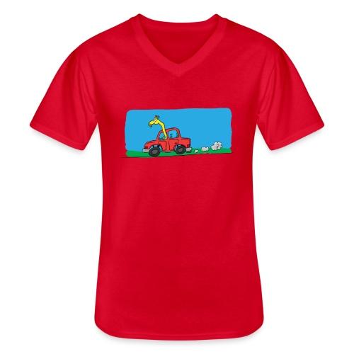 La girafe conductrice - T-shirt classique col V Homme