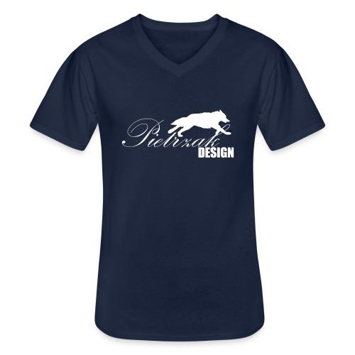 PietrzakWhite - Klasyczna koszulka męska z dekoltem w serek