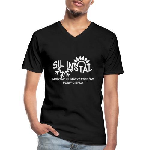 sil instal - Klasyczna koszulka męska z dekoltem w serek