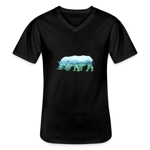 RHINOS, DIE NASHÖRNER IN DEN ALPEN - Klassisches Männer-T-Shirt mit V-Ausschnitt