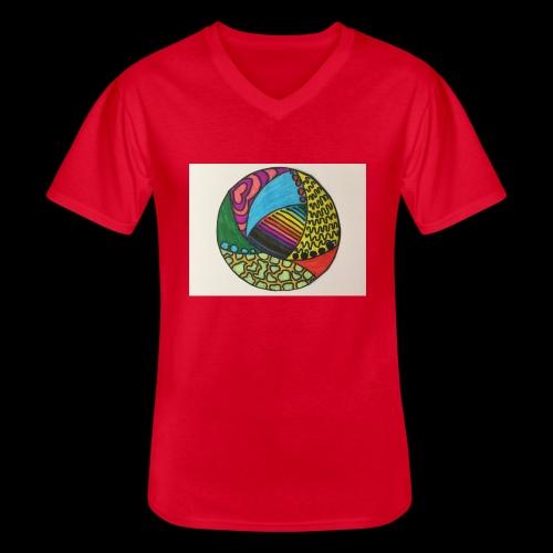 circle corlor - Klassisk herre T-shirt med V-udskæring