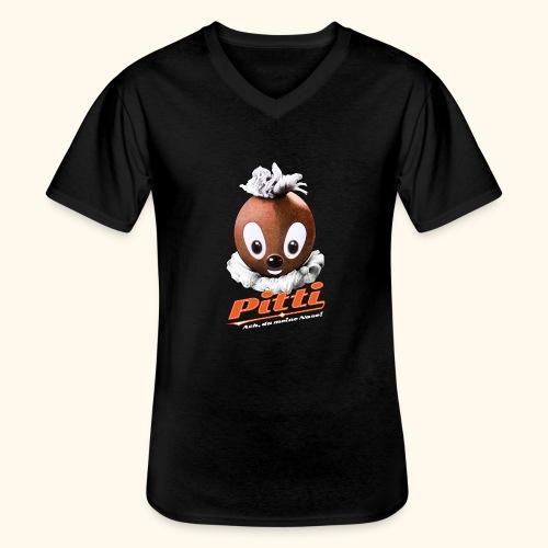 Pittiplatsch 3D Ach, du meine Nase auf dunkel - Klassisches Männer-T-Shirt mit V-Ausschnitt