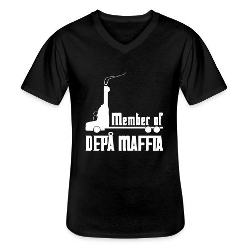 Depå Maffia vitt tryck - Klassisk T-shirt med V-ringning herr