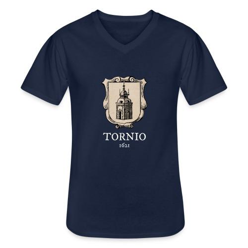 Tornio 1621 valkoinen teksti - Klassinen miesten t-paita v-pääntiellä