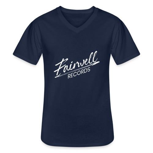 Fairwell Records - White Collection - Klassisk herre T-shirt med V-udskæring
