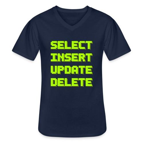 SQL pixelart black - Klassisches Männer-T-Shirt mit V-Ausschnitt