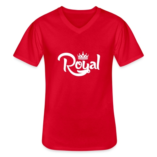 Royal Logo White Edition - Men's V-Neck T-Shirt