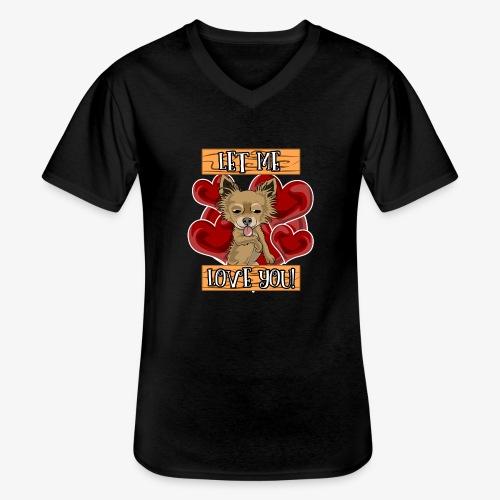 Engla says Let me love you! - Klassisk T-shirt med V-ringning herr