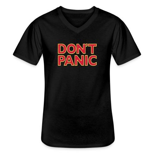 Don't Panic - Klassiek mannen T-shirt met V-hals