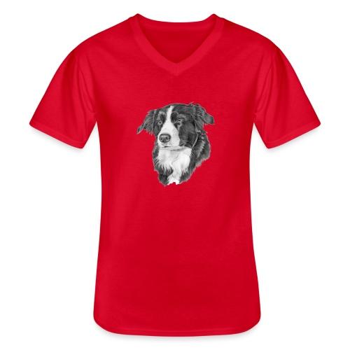 border collie 1 - Klassisk herre T-shirt med V-udskæring