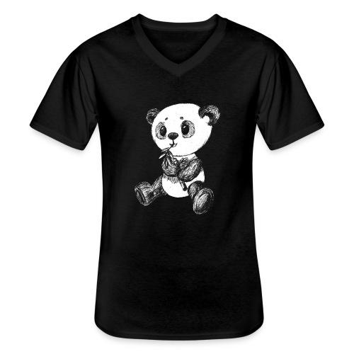 Panda bjørn hvid scribblesirii - Klassisk herre T-shirt med V-udskæring