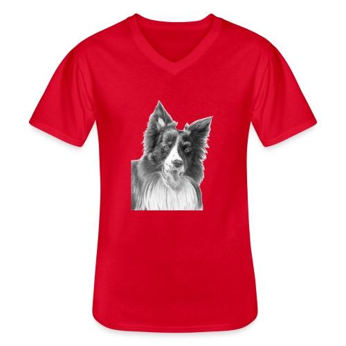 border collie 3 - Klassisk herre T-shirt med V-udskæring