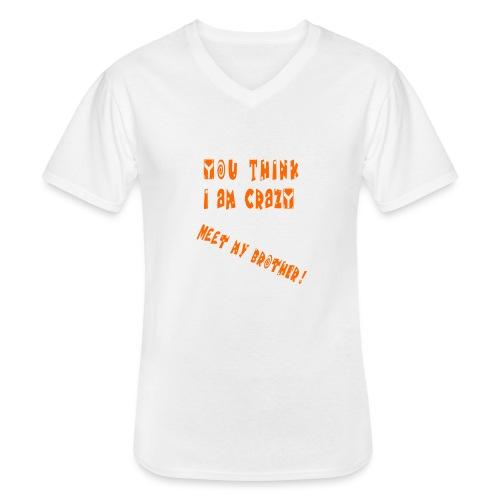 Crazy Brother - Klassinen miesten t-paita v-pääntiellä
