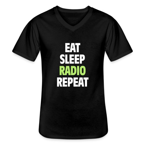 Eat Sleep Radio Repeat T-shirt - Klassisk T-shirt med V-ringning herr