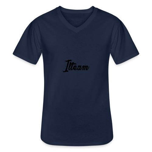 Ilteam Black and White - T-shirt classique col V Homme