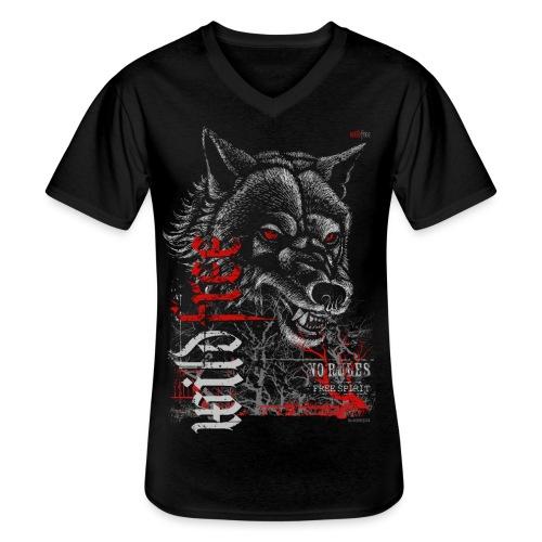 WILDFREE | WOLF - Klassisches Männer-T-Shirt mit V-Ausschnitt