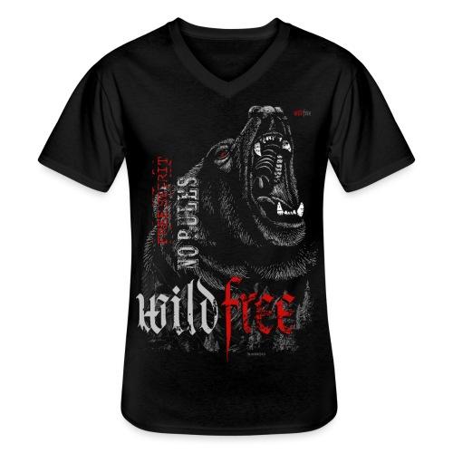 WILDFREE | BEAR - Klassisches Männer-T-Shirt mit V-Ausschnitt