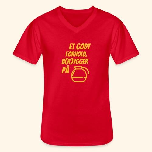 Et godt forhold, b(r)ygger på... - Klassisk herre T-shirt med V-udskæring