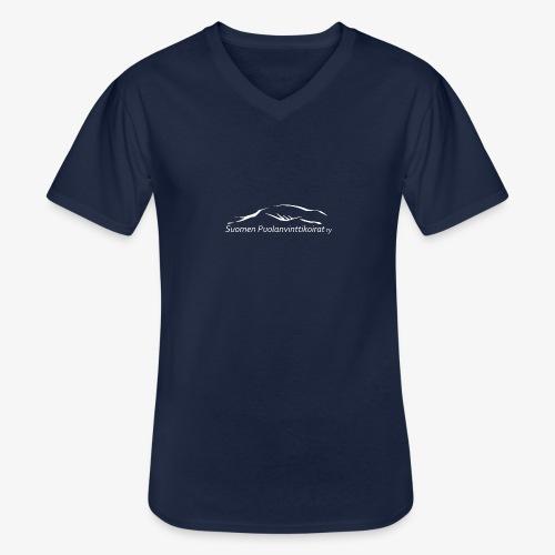 SUP logo valkea - Klassinen miesten t-paita v-pääntiellä