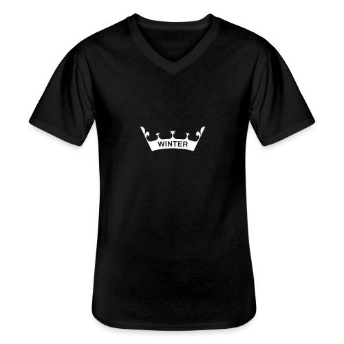 Krone Winter - Klassisches Männer-T-Shirt mit V-Ausschnitt