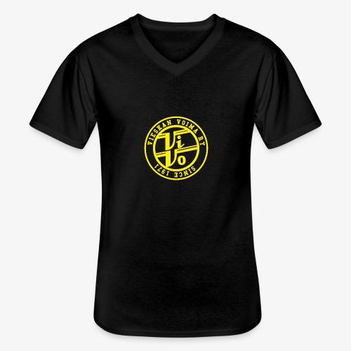 ViVoPAITA transparent - Klassinen miesten t-paita v-pääntiellä