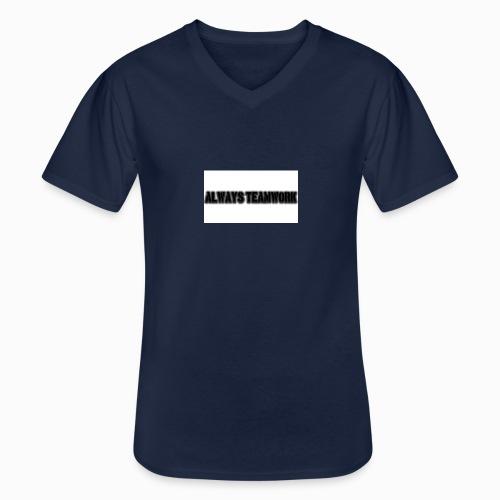 at team - Klassiek mannen T-shirt met V-hals