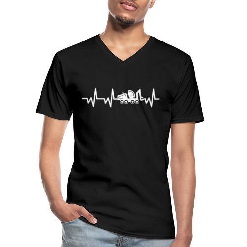 Forst | Herzschlag weiß - Klassisches Männer-T-Shirt mit V-Ausschnitt