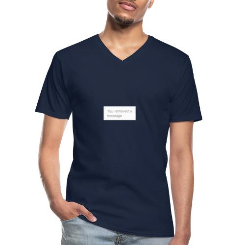 You removed a message - Klasyczna koszulka męska z dekoltem w serek