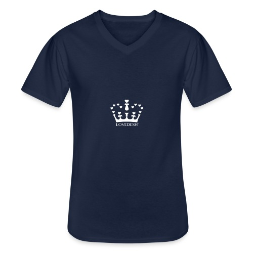 White Lovedesh Crown, Ethical Luxury - With Heart - Men's V-Neck T-Shirt