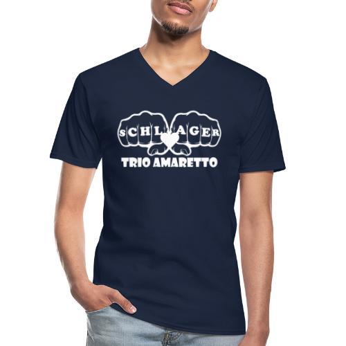 White Print Trio Amaretto - Klassisches Männer-T-Shirt mit V-Ausschnitt