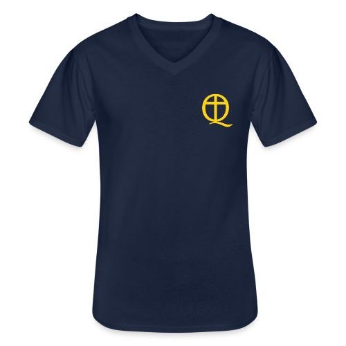 QC Gul - Klassisk T-shirt med V-ringning herr