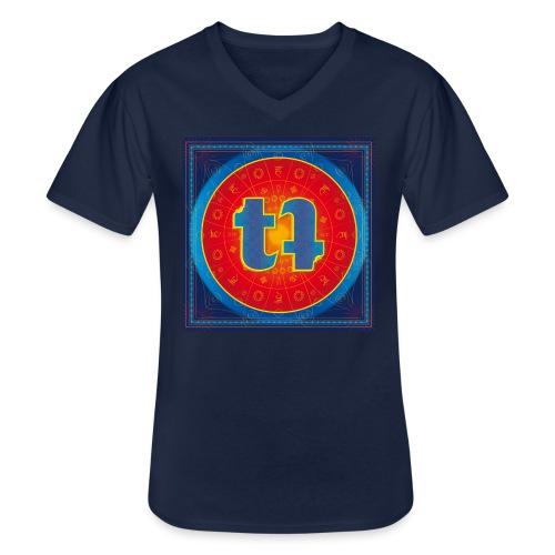 turn turQuoise Logo - Klassisches Männer-T-Shirt mit V-Ausschnitt