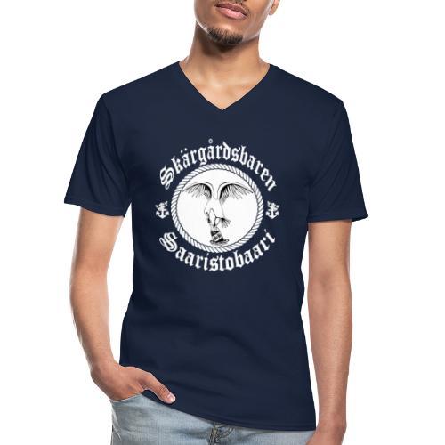 White Logo - Klassinen miesten t-paita v-pääntiellä