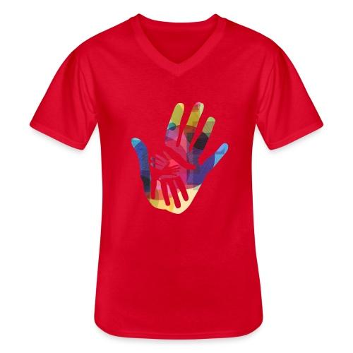 logo_storien - Klassisk T-skjorte med V-hals for menn