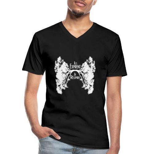Oxygène blanc - T-shirt classique col V Homme
