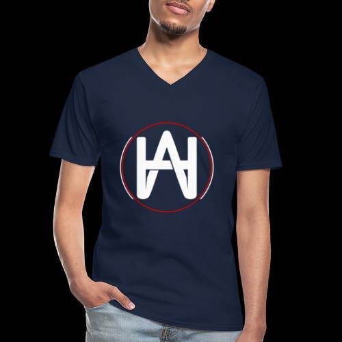 Hombre Alpha Logo en Blanco sobre Negro - Camiseta clásica con cuello de pico hombre